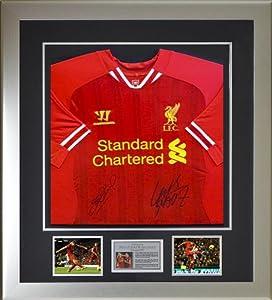 Hand signed Steven Gerrard & Luis Suarez Liverpool FC 2014 shirt -COA & Proof by MemorabiliaOutlet