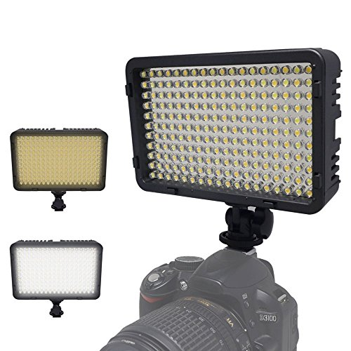 Kaavie - Illuminatore Luce LED 260 Bi- Color LED video light - Faretto LED per fotocamere reflex digitali e videocamere Canon - Nikon - Olympus - Sony - Panasonic - Pentax