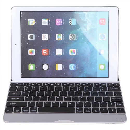 Hde Ultra Thin Aluminum Bluetooth 3.0 Wireless Keyboard Shell Case And Stand With Smart Cover Auto Sleep And Wake Feature For Ipad Air (5Th Generation)