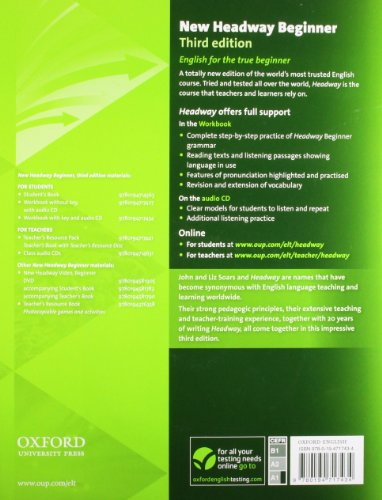 New headway beginner wb w/o audio pk 3e (Book & CD) Con Key