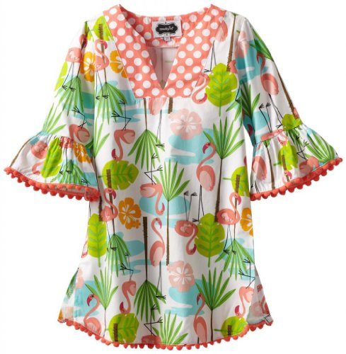 Mud Pie Little Girls' Flamingo Cover Up Dress, Multi, 2T front-545574
