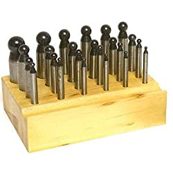Dapping Punches w/Wood Stand 24 Piece Steel