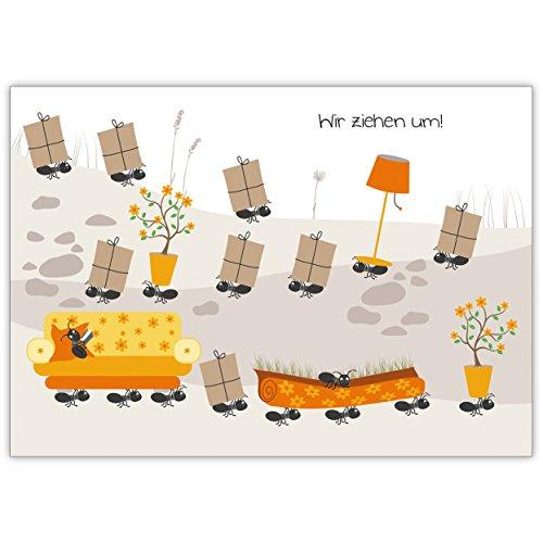 lustige umzugskarte anzeige mit lauter kleinen flei igen. Black Bedroom Furniture Sets. Home Design Ideas