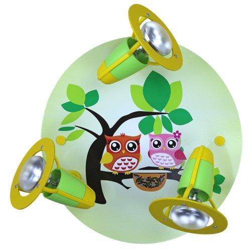 elobra kinder lampe rondell eulen familie deckenleuchte kinderzimmer holz lindgr n 128251. Black Bedroom Furniture Sets. Home Design Ideas