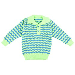 Kuchipoo Unisex Hand Knitted Neon Green & Blue Sweater 1 to 2 Years