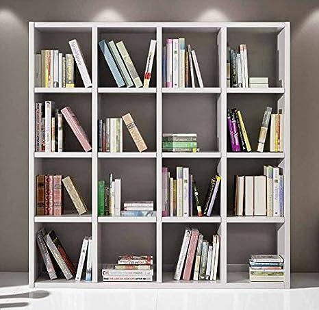 Libreria a giorno soggiorno parete attrezzata bianco frassinato 16 elementi