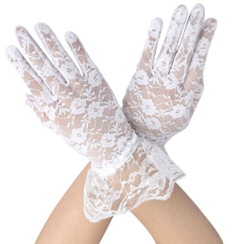 Simplicity Sheer Lace Floral Tulle Bridal Wedding Gloves w/ Wrist Ruffle, White