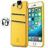Baseus iPhone6s Plus カードケース 薄型 握りやすい 軽量 カード収納 ストラップ付き 高級革製 おしゃれ iPhone6 Plus 保護カバー 衝撃防止 iPhone Plus レザーケース イエロー