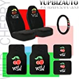 51aOyyKcEyL. SL160  Universal Wild Cherry Design Car Truck SUV Seat Covers, Floor Mats and Steering Wheel Cover Set with Bonus Purple Slice