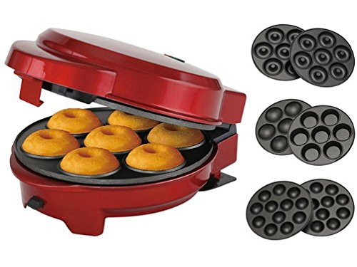3 in1 Donut Muffin y piruletas de Maker rojo metálico 3 placas intercambiables