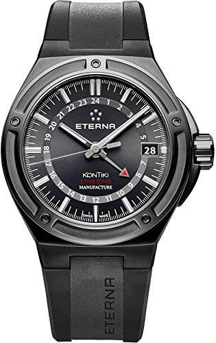 De la real reloj Eterna KonTiki, Eterna con la canalización que, de color negro, correa de goma, 7740,43,41,1289