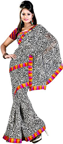 Exotic India Black And White Printed Sari From Surat With Patch Border - Black