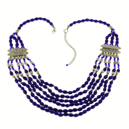 Party Fashion Necklace Blue Costume Jewelry Handcrafted In India