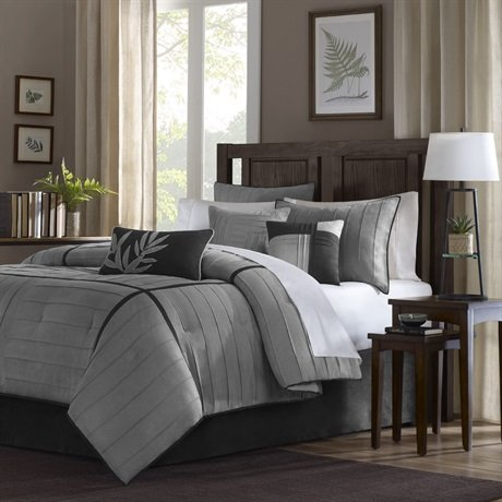 Connell 7 Piece Comforter Set Size: California King, Color: Grey