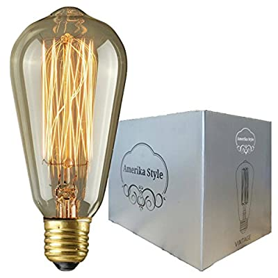 Amerika Style Vintage Edison Bulb-ST64-60W-1 Pack-Squirrel Cage Filament -Dimmable