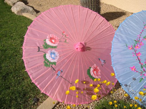 Cloth Parasol, Pink Color w/Flowers #8000P