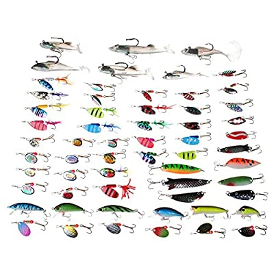 Dr.Fish Assortment 60 Fishing Lures Kit Trout Spinners Pike Spoons Swimbaits Bass Crankbaits Loaded in 5 Fishing Tackle Boxes Premium Treble Hooks