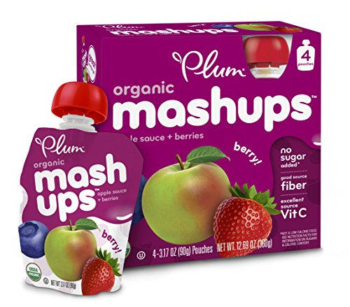 Plum Kids Organic Fruit Mashups, Mixed Berry, 3.17 Ounce, 4-Count (Pack Of 6) (Packaging May Vary)