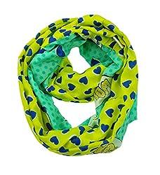 WishCart Girls Infinity Loop Scarf Circle Neck Wrap ,Two-Sided Wear Cute Design Printing-Green Yellow