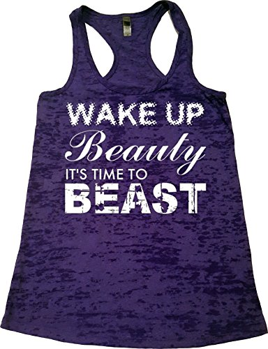 Orange Arrow Womens Workout Clothing (XL, Rush) - Wake up Beauty Time to Beast - Crossfit Tank Top