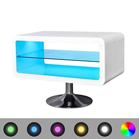 vidaXL Mesita para TV color blanco brillante con luces LED, 80 cm