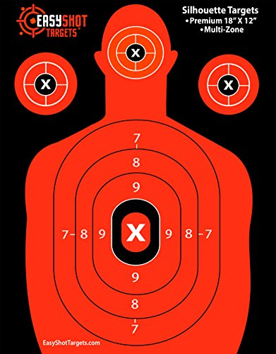 Premium Silhouette Targets at Ridiculously Low Prices (Get 150 FREE Target Repair Stickers) High-Visibility Fluorescent Orange, Paper Shooting Targets for