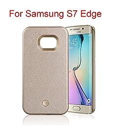 Samsung Galaxy S6 S6 Edge Plus S7 S7 Edge LED lighted Selfie Illuminated Cell Phone Case for s7 edge+ (S7 Edge gold)