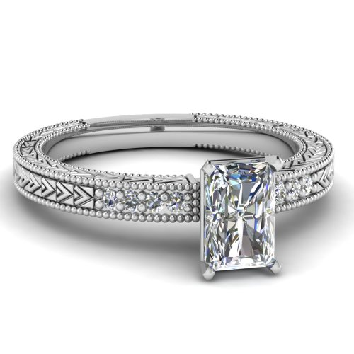 Fascinating Diamonds 0.60 Ct Radiant Cut H-Color Diamond Vintage Pave Engagement Ring With Milgrain Gia