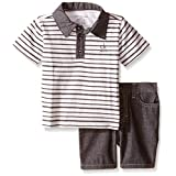 Calvin Klein Baby-Boys Yarn Dyed Stripe Jersey Polo Shirt and Chambray Shorts, Multi, 12 Months