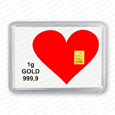 """Goldbarren 1g 1 Gramm Motivbox """" Herz """" Gold Barren"""