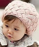 手編み風ニット帽 ベビー ニット帽 ボンボン付き (ピンク)