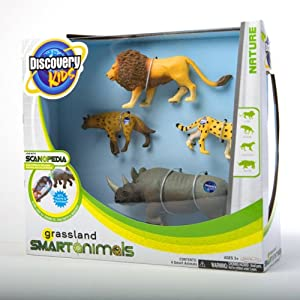 "Discovery Kids - 3"" Smart Animals 4 Pack - Grassland Animals - Lion, Hyena, Cheetah, and Rhino"