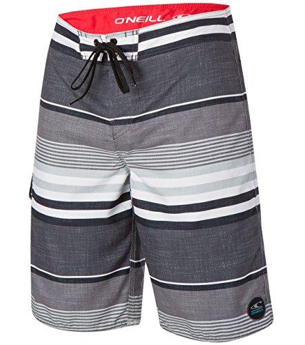 Oneill Mens Santa Cruz Plaid Stripe Boardshort, Black Grey - 33