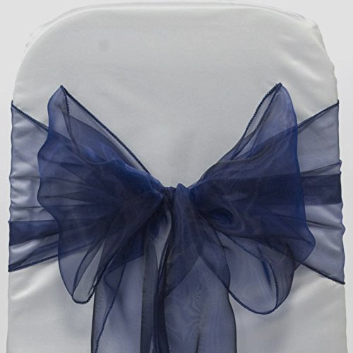MDS 10 Organza Chair Cover Bow Sash Wedding Banquet Decor -Navy blue