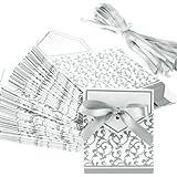 Yong8 Silver Wedding Favour Favor Sweet Cake Boxes Bags (50pcs)