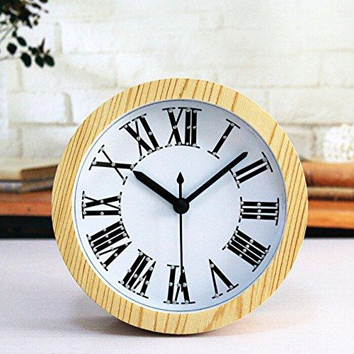Alrens_DIY(TM) 3D Roman Numerals Wood Pattern Silent Non-ticking Desk Wall Clock Vintage Alarm Clocks Round Desk Clocks Table Clock Watch Desktop