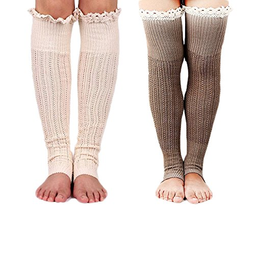 Spring Fever Crochet Lace Trim Cotton Knit Leg Warmers Boot Socks(Beige & Khaki) (Cute Girl Rain Boots compare prices)