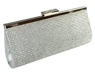 High Quality Shimmering Silver Diamante Encrusted Evening bag Clutch Purse Party Bridal Prom