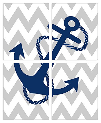 The Kids Room by Stupell Blue Anchor on Grey and White Chevron 4-Pc. Rectangle Wall Plaque Set