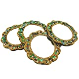 Set of 4 Pcs Home Decor Golden Floral Shape Small Mirror Gift Indian Pocket Travel Mirror Handheld Purse Vanity Cosmetic Free Shipping Mirror