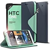 Cellto HTC One (M7) Navy/ Mint Diary Wallet Case w/ Stand & Screen Protector