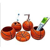 Fashionable Basketball Bathroom 5pcs Set Supplies Creative Resin Bathroom Accessories Set Kids Bath Accessories Beautiful Home Gifts