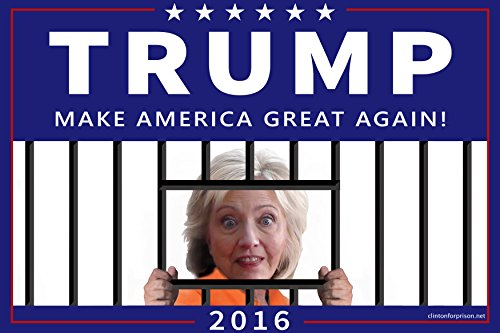 Trump and Clinton Halloween Costumes - Choose Edgy or Funny - Premium Trump 2016 Yard Sign | 2-Sided w/ Stand | Anti Hillary | Hillary for Prison