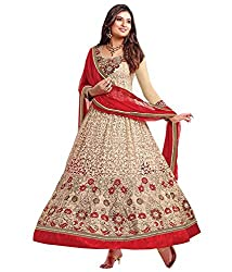 Red and golden anarkali dress material