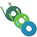10ft Braided Flat Noodle Lightning Cables For IPhone 6s, 6 Plus (teal Grn Blu)
