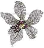 "CZ by Kenneth Jay Lane ""Classic CZ"" Elaborate Orchid Cubic Zirconia Brooch"