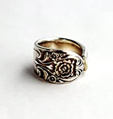 buy Spoon Ring Antique Silverware Melody Pattern Floral Size 6