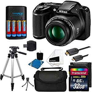 "Nikon COOLPIX L340 20MP Digital Camera (Black) + AA Batteries & Charger + 32GB SDHC Memory Card Top + 50"" Tripod Full Kit - International Version (No Warranty)"