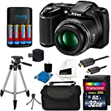 Nikon-COOLPIX-L340-20MP-Digital-Camera-Black-AA-Batteries-Charger-32GB-SDHC-Memory-Card-Top-50-Tripod-Full-Kit-International-Version-No-Warranty