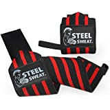 Steel Sweat Wrist Wraps 18 inches for Weight Lifting, Crossfit, Powerlifting, Bodybuilding, Strongman - Premium Grade Heavy Duty to Extreme Strength for best wrist support when Weightlifting - Brace and Guard Your Wrists